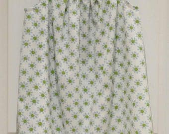 Girl's Pillowcase Dress, Vintage Sheeting, Blue Green White, Eco-friendly