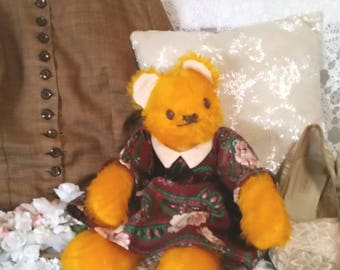 vintage teddy bear, happy smiling bear, antique bears, vintage 70s bear, fuzzy yellow bear, dress and pantaloons,