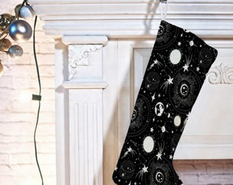 Outer Space Theme Christmas Stocking // Black & White // Holiday Decorating // Retro Style // Solar System Design // Celestial // Stars