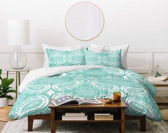 Paisley Duvet Cover // Bedding // Twin, Queen, King Sizes // Home Decor // Plush Paisley Seaspray Design // Aqua Bedding // Bedroom Decor