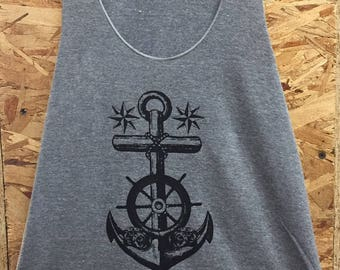 Nautical Anchor Tattoo Flash Art Print Ladies Tank Top T-shirt Made in USA