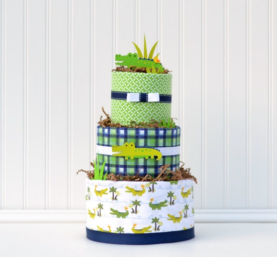 Diaper Cake for Alligator Baby Shower, It's a Boy Centerpiece, Navy Blue and Green Decor, Boy Diaper Cake Gift, Later Gator, Oh Snap