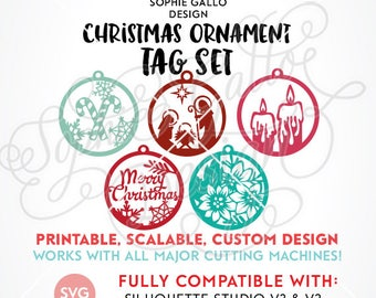 Christmas Ornament SVG DXF PNG instant digital download file Silhouette Cricut vector clipart graphics Vinyl Cutting Machine Screen Print