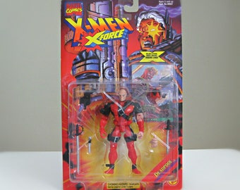 Marvel Comics Deadpool Action Figure, Vintage X-Men Toy, Superhero Christmas Gift for Boyfriend, 1995 Deadpool Toy with Swords and Mask