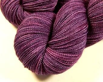 Hand Dyed Sock Yarn - Sock Weight Superwash Merino Wool Silk Yarn - Deep Lilac Tonal - Indie Dyed Knitting Yarn, Fingering Wool Yarn, Purple