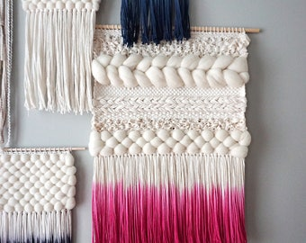 Woven Wall Hanging | Pink Dip-dyed Weaving
