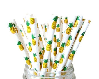 Pineapple Paper Straws, Pineapple Party, Aloha Tropical Party, Pineapple Summer Straws, Luau Party, Paper Straws, 12 Pineapple Straws