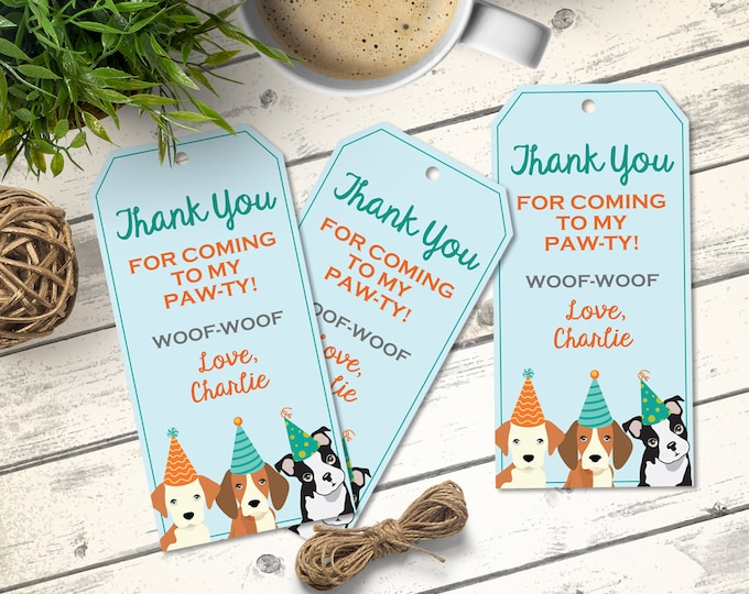 Dog Party Favor Tag - Doggie Birthday Party, Doggy, Puppy, First Birthday, Gift Tag | DIY Instant Download PDF Printable