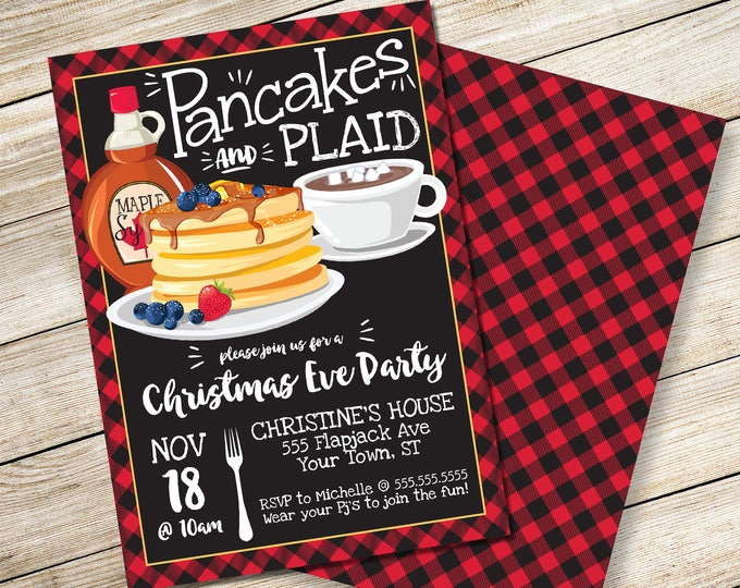 Pancakes & Plaid Invitation - Christmas Party,Breakfast with Santa,Lumberjack Christmas Party | DIY Editable Text INSTANT DOWNLOAD Printable