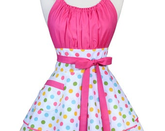 Flirty Chic Retro Apron - Womens Birthday Confetti Pink Polka Dots Sexy Pinup Kitchen Apron with Pocket (DP)