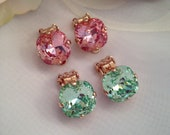 Clip On Rose Gold Swarovski Lt Rose Pink and Chrysolite Green Cushion Cut 12mm Square Earring Shiny Rose Gold Tone Setting Comfort Beauty