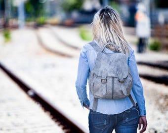 Leather backpack in Grey patina, large leather bag l rucksack daypack knapsack school bag - Artemis backpack