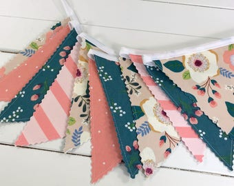 Bunting Banner,Fabric Banner,Nursery Decor,Blush Pink,Navy Blue,Coral Pink,Aztec Nursery,Tribal Nursery,Boho,Buck,Flowers,Floral,Bohemian