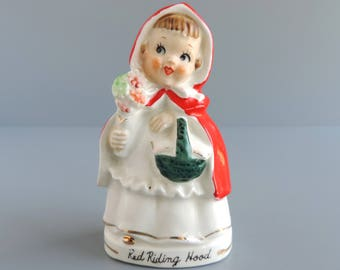 Vintage Tilso Red Riding Hood Salt and/or Pepper Shaker Figurine, Mid-Century Nursery Rhyme Storybook Character, Made in Japan