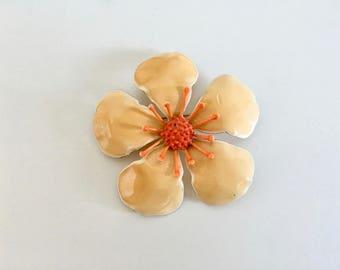 Vintage Jewelry Women's 60's Enamel Pin, Flower, Peach, Orange, Mod