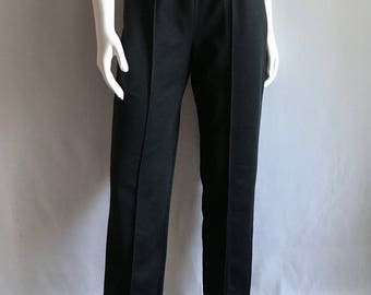 Vintage Women's 70's Black Polyester Pants, High Waisted, Tapered Leg (M)