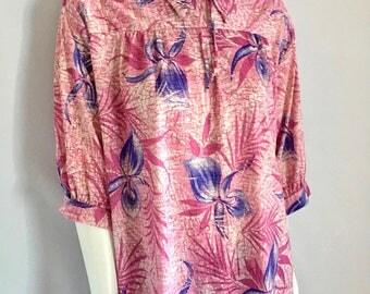 Vintage Women's 70's Boho, Floral Blouse, Polyester, Long Sleeve (XL)