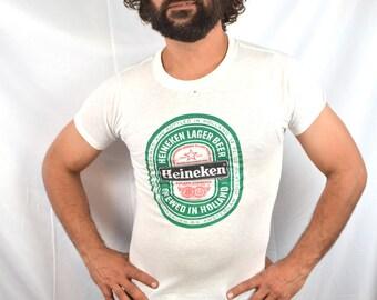 Vintage 1980s 80s Heineken Green Beer Tee Shirt Tshirt - Sneakers tag