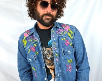 OOAK Vintage 60s 1970s Hippie Denim Embroidered WOW Button Up Shirt