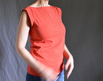 Shirt Triangle Top, Cotton Jersey, short sleeve, geometric, modern style- made to order, one of a kind