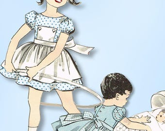 1950s Vintage Advance Sewing Pattern 8906 Toddler Girls Dress and Apron Size 6