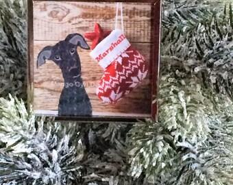Greyhound Barnboard Stocking Ornament, Greyhound Ornament, Greyhound Christmas, Greyhound gift, Greyhound gifts, Greyhound Custom ornament