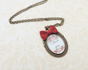 Fuck you swear words necklace bronze red bow