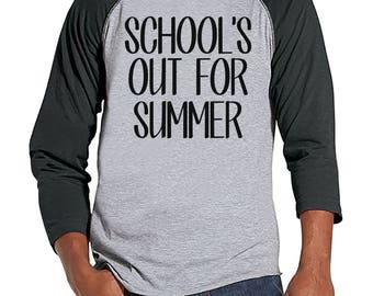 Teacher Shirts - School's Out For Summer - Teacher Gift - Teacher Appreciation Gift - End of School Year Shirt - Men's Grey Raglan Tee