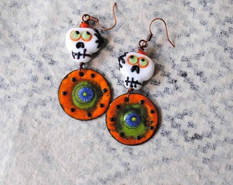 Skull Earrings, Halloween Earrings, Day of the Dead Earrings, Orange Earrings, Lampwork Bead Earrings, Artisan Enamel, Green Eyed Skulls