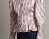 Vintage 70s Satin Striped Poet Sleeve Blouse