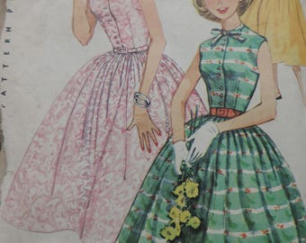 1950s Simplicity 1667 Sewing Pattern Teen Age Fit and Flare Dress Size 10