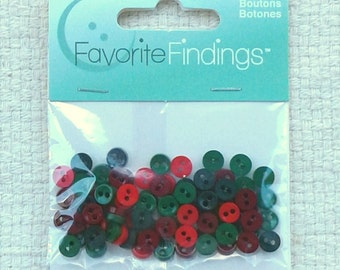 Mini Christmas Buttons 7 mm by Favorite Findings - Sets of 75                                                           09/17