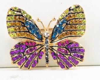 Vintage Multicolored Rhinestone Butterfly Brooch Pin (B-2-2)