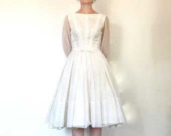 1950s Dress Vintage White Chiffon Full Skirt Fifties Party Prom Dress Wedding Dress Emma Domb XS