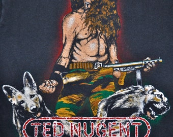 Vintage 80s 1982 TED NUGENT World Conquest Rock Concert Tour T SHIRT Small S