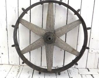 Old Wheel, Iron and Wood Wheel, Primitive Wheel, Rustic Wheel, Garden Decor, Farmhouse Decor, Prop, Wagon Wheel, Industrial Vintage Wheel