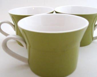 3 DUET GREEN Duplex Line Ben Seibel MIKASA Coffee Cups Japan 1970s
