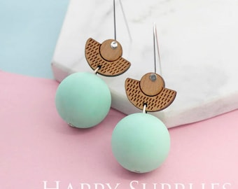 1 Pair (SBW23C) Silicone Balls Laser Cut Geometric Wooden Dangle Earrings - HEW Series - Ocean Sea Summer Beach