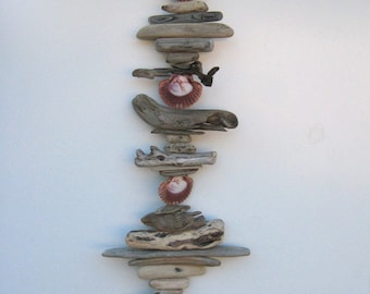 Driftwood Mobile With Shells-DC1307