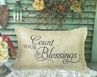 Count your blessings burlap pillow