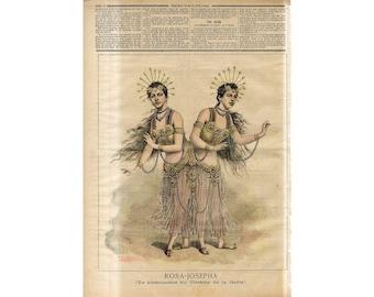 C. 1891 -  SIAMESE TWINS PRINT - original antique print - conjoined twins - The Bohemian Twins - pygopagus print -