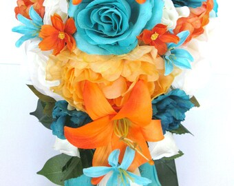 Wedding Bouquet 17 Piece Package Bridal Bouquets Silk Flower Set ORANGE Tangerine AQUA Blue TEAL
