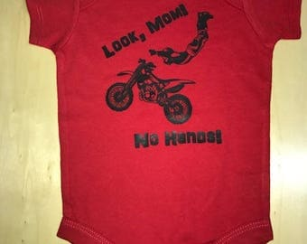 Look Mom, No Hands - Single Color Bodysuit - White Graphic