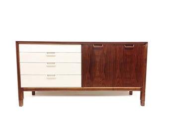Vintage Mid Century Modern Buffet In Wood and White