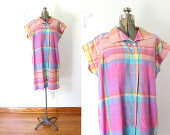 1980s Madras Plaid Dress / Pink and Purple Madras Plaid Summer Dress