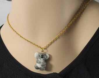 porcelain hand crafted koala figurine charm or pendant w free gold tone chain Anita Reay ceramic koala bear totem art