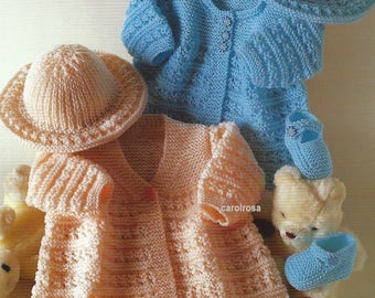 PDF download - Knitting Pattern Jacket/Coat, Hat and Shoes Baby Bebe 14-18 ins Preemie sizes