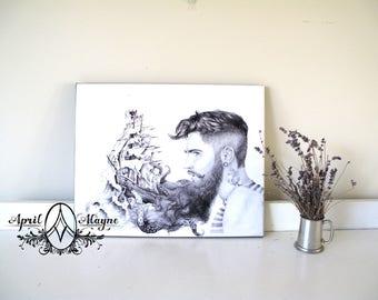Sailor's Beard- Illustration- print-man- portrait- kraken- ship