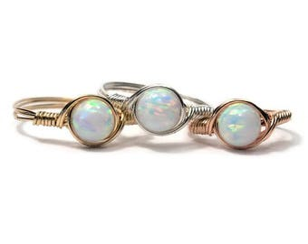 White Opal Wire Wrapped Ring Custom Sized Faux Opal Manmade Opal