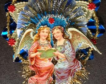 Vintage Look Angels Christmas Ornament Victorian -1900's German Postcard Angels,German Dresdens,Spun Glass,Vtg German Tinsel & Reflector